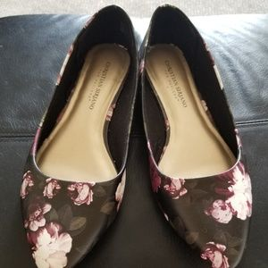 Flats, floral, 7 1/2W,